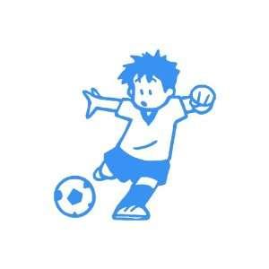 Soccer Boy LIGHT BLUE Vinyl window decal sticker Office