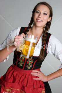 German girl with beer Royalty Free Stock Photo