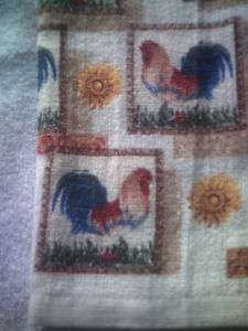 FULL uncut The Red & Blue Rooster Print Kitchen Towel