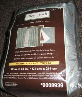 Allen Roth JAMESTOWN Lined Thermal Curtain Drapery Drape Panel Green