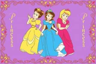 THREE PRINCESS IN PINK GIRLS ROOM GEL BACKED NON SLIP AREA RUG 3 X 5