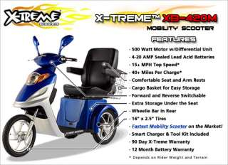 Fast X Treme XB 420M 3 Wheel Electric Mobility Scooter, 500W, Lights
