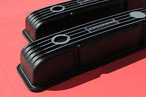 Small Block Chevy Camaro Black Finned Aluminum Valve Covers