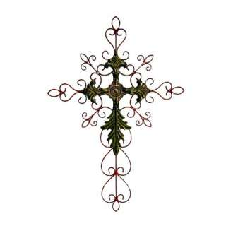 Cheungs Rattan 28 Tall Metal Cross Wall Art in Green Decor