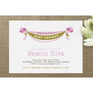 Baby Bird Banner Baby Shower Invitations: Health