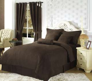 Solid Coffee Brown Microsuede Comforter/bed in a bag Set Twin
