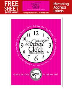 AROUND THE CLOCK Bridal Shower Party Favor INVITATION