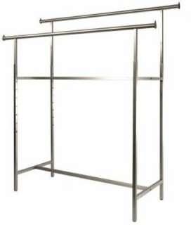 New Chrome H Rack Double Bar Heavy Duty Clothing Garment Rack