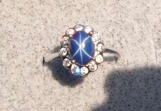 CRNFLR BLUE STAR SAPPHIRE CREATED RHOD .925 SILVER CLUSTER RING