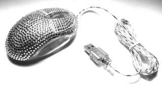 Silver Crystal Rhinestone USB Optical Computer Mouse