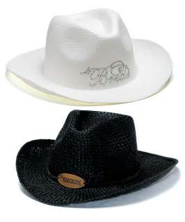 WEDDING GIFT BRIDE WHITE COWGIRL and GROOM BLACK COWBOY PARTY HATS