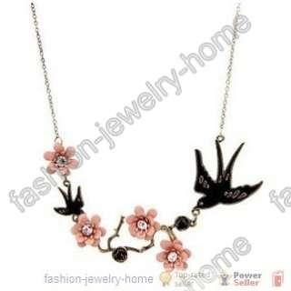 New Elegant Korean style swallow&flower crystal Necklace