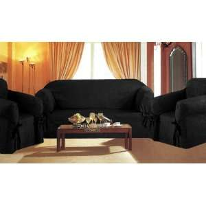 3 Pieces Solid Black Suede Corduroy Couch/sofa Cover
