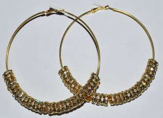 Large Rhinestone Hoop Gold Earrings Basketball Wives   E32A