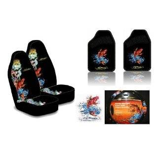 Ed Hardy Koi Fish 6 pc Set Seat Covers, Floor Mats, Steering Wheel