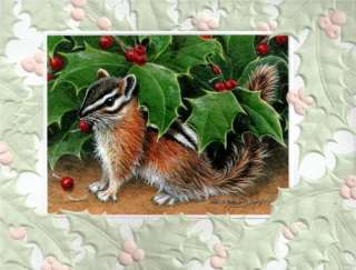 10 Embossed Boxed Christmas Cards Chipmunk & Holly