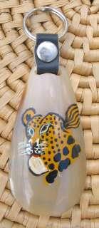African Cow Horn Leopard Key Ring Kenya Fair Trade