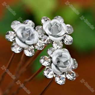 10p Clear Crystal Silvery ROSE Wedding Bridal Hair Pins