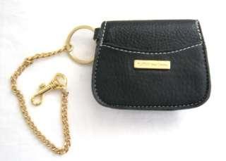 Kathy Van Zeeland Black Leatherette Coin Purse Keyring