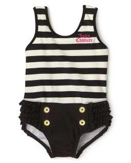 Juicy Couture Infant Girls Stripe Ruffle Swim Suit   Sizes 3 24