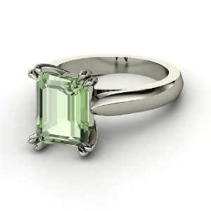 Julianne Ring, Emerald Cut Green Amethyst 14K White Gold Ring Jewelry