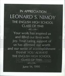 1990 Leonard Nimoy High School Appreciation Plaque