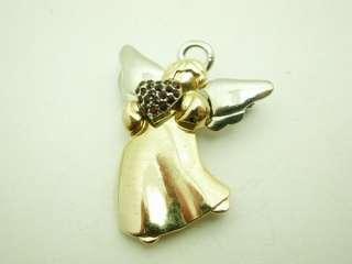Liz Claiborne Rhinestone Heart Angel Brooch or Pendant