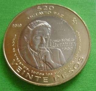 2010 Mexican coin $20 Octavio paz Bimetallic BU