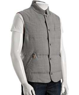 Brunello Cucinelli grey quilted wool down filled vest   up to