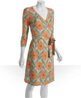 JB by Julie Brown light blue sundial floral jersey wrap dress