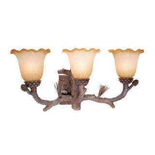 NEW 3 Light Rustic Pine Tree Bathroom Vanity Lighting Fixture, Amber
