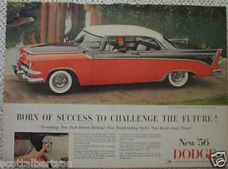 1956 DODGE CUSTOM ROYAL LANCER VINTAGE AD 1955