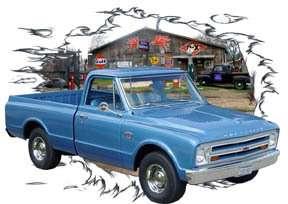 1967 Blue Chevy Pickup Truck d HotRod Garage T Shirt 67