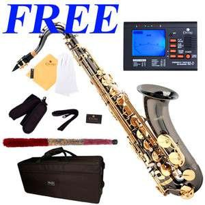 NEW BLACK NICKEL PLATED TENOR SAXOPHONE SAX +$39 Tuner