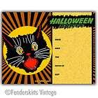 vintage retro scary black cat halloween invitation s $ 15 00 listed
