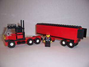 LEGO   SEMI TRUCK w/ TRAILER & Minifig (Red & Black)