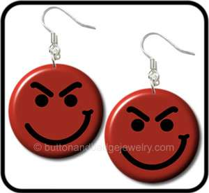 BON JOVI* Have A Nice Day Smiley Face Button EARRINGS