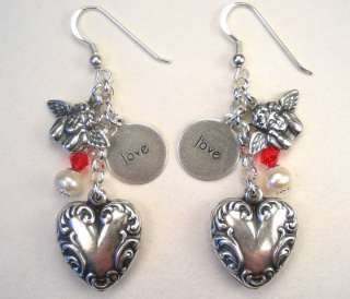 VALENTINES DAY HEART LOVE CHERUB SILVER CHARM EARRINGS