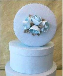Fabric Covered Hat Boxes,BlueTaffeta, Roses, Pearls